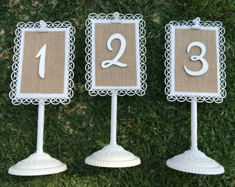 Wedding table numbers- rustic wedding decor