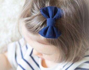 Navy LuLu Bow Clip | navy blue bow alligator clip, infant newborn baby toddler, hair bow, bang clip