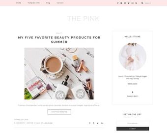 "Responsive pink Blogger Template ""The Pink"" - Premade blog design for Beauty bloggers - feminine Blog Theme Design"