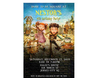 The Boxtrolls Birthday Party Invitations - Printable or Printed