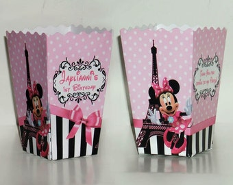 Minnie Mouse In Paris Birthday party popcorn Favor Boxes (Set of 10)