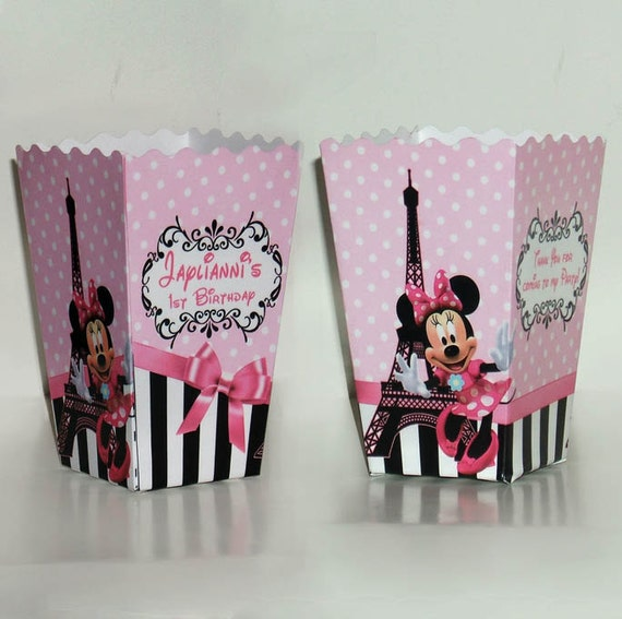 minnie mouse in paris birthday party popcorn favor boxes set