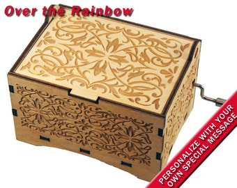 "Jewelry Music Box, ""Over the Rainbow"", Laser Engraved Wood Hand Crank Storage Music Box"
