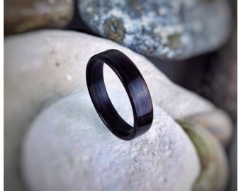 Deep Black Ebony Bent Wood Ring - Made to order - All US and UK Ring Sizes