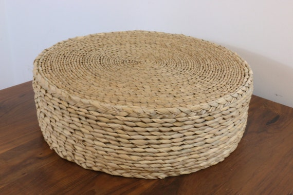 Round Straw Floor Pillows : Straw round rustic floor cushion/ gift for moms/Floor