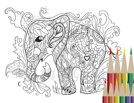 Elephant Coloring Page Adult Coloring Page By