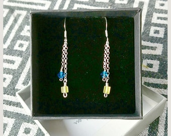 no.70 Double Stranded Sterling Silver earrings with Blue Swarovski Crystal