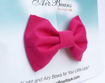 Hot Pink Classic Hair Bow - Hot Pink Girls Hair bow - Hot Pink Hair Bow - Hot Pink Fabric Hair Bow - Fabric Bow