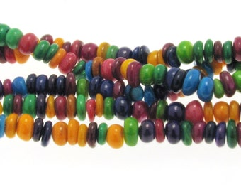 Natural Dyed Shell Spacer Beads 6 to 9mm Diametre, Natural Shell Beads, Shell Beads,  Colorful shell beads