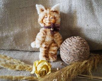 Handmade teddy doll Kitty Cat Vasya. Artist Teddy Bears, Soft Toys, Stuffed Animal.  ID7