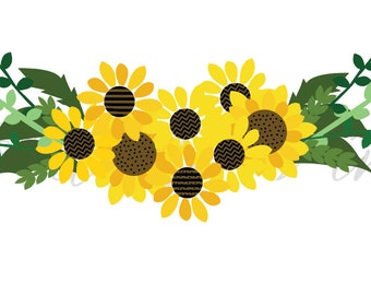 sunflower SVG, fall floral SVG, perennial sunflower, bouquet svg, flower svg, floral svg, sunflower bouquet svg, sunflower leaves svg,
