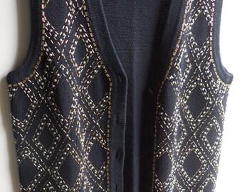 Black beaded sweater vest