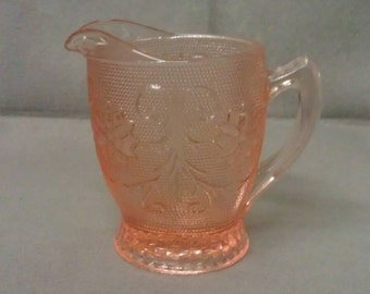 Tiara Glass Pink-Peach Creamer
