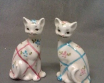 Beige with Blue and Pink Plaid with Beige Cats Salt and Pepper Shaker Set