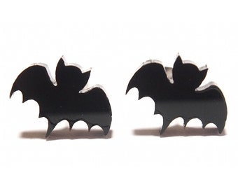 Bat Earrings in Black, Bat Stud Earrings, Black Bat Studs, Halloween Earrings, Titanium Earrings, Bat Studs, Black Bat Earrings, Goth Studs