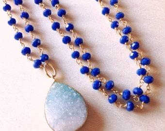Druzy Necklace - Blue Agata and Druzy Necklace