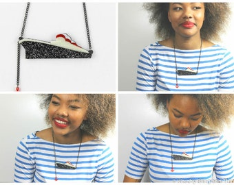 50s Style Ocean Liner Necklace with Red Anchor - laser cut acrylic - acrylic jewellery - plexiglass jewelry - gifts for her