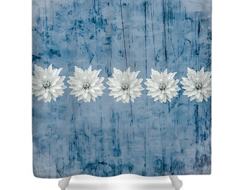 Rustic Blue Flower Shower Curtain,Designer Blue Grey Bath Curtain,Rustic Floral Shower Accessories,Home Interior,Shabby Chic Shower Curtain