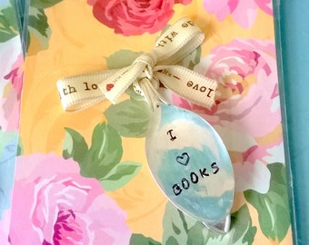Vintage Spoon Bookmark - I Love Books, Stamped Bookmark, Gift For Bookworm, Gift For Friend
