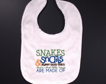 Snakes and Snails and Puppy Dog Tails- Embroidered Bib- Baby Boy Bib- Baby Shower Gift- Custom Embroidery