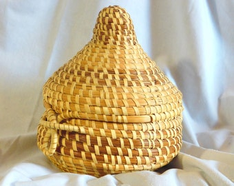 Woven Basket with Attached Lid