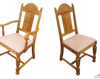 6 Antique Gothic Revival Oak Jacobean Dining Chairs