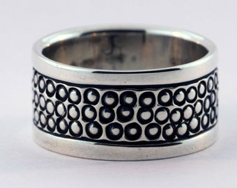 Stamped Bead Sterling Band Ring - Size 8