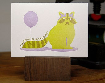 "Letterpress Raccoon Happy Birthday Folded Card  A6 (4.5"" x 6.25"")"