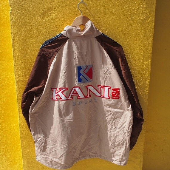 vintage 80 39 s karl kani sport brown zipper jacket big logo. Black Bedroom Furniture Sets. Home Design Ideas