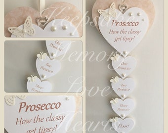 Prosecco gift wooden keepsake heart sign