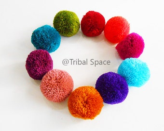 Yarn pom pom, Mixed colors,Colorful,Garland party,Craft supplies 10 pom poms (PM_004)