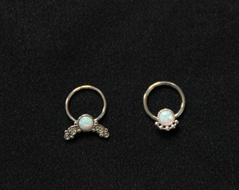 Opal Septum Piercing Surgical Steel - Different Diameter - Unique Design - Pixies Fairy style