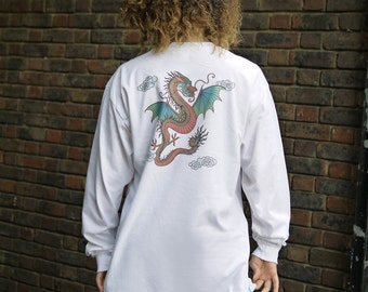 Chinese Dragon Design On White Long Sleeved T-shirt