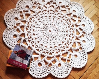 Crochet Area Rug Anita 40 102 Cm Bed Side Baby Round Floor Lace