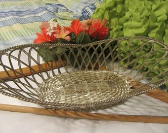 Basket Wire Vintage Country Decor Silver Plate Wire Bread, Wine, Bathroom, or Easter Basket  Unique Gift Idea Storage