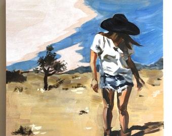 "Wandering Joshua Tree, 10"" x 10,"" oil on wood panel, original oil painting portrait"