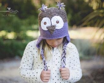 Purple Owl Hat, Owl Beanie, Animal Hat, Woodland Creature, Newborn Photography, Baby Costume, Crochet Owl, Owl Costume, Halloween Owl
