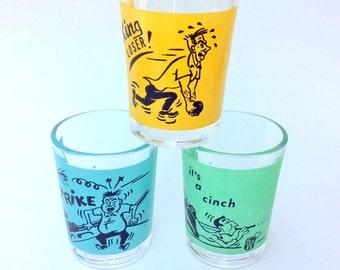 SALE  15% OFF, Bowling Tumblers, Shot Glasses, Humorous Sport, Barware, Set of 3, Sport Humor, Vintage Glassware, Vintage Sport Graphics