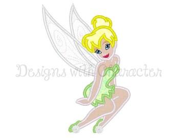 "Green fairy applique machine embroidery design- 3 sizes 4x4"", 5x7"", 6x10"""