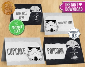 Star Wars Table Tents - INSTANT DOWNLOAD Customizable Food Tent Printable Cards Favors - Darth Vader Stormtrooper Dark Side - Editable Text
