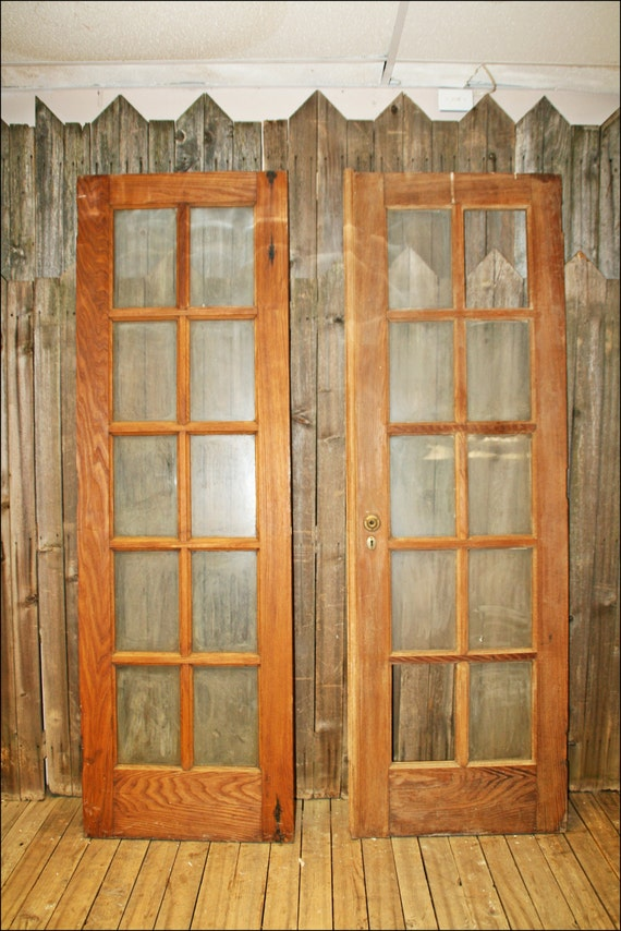 2 vtg french doors 10 pane window wooden by for 10 pane glass door