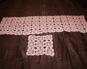Four Pink and White Doilies