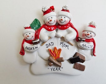 Roasting Marshmallows by Campfire Family of 4 Ornament- Personalized Family of 4 Roasting Marshmallows Camping Ornament - Camping Ornament