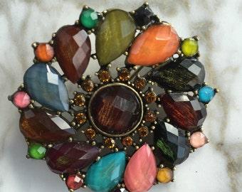 Vintage 60s Brooch, Multicolored brooch, circle brooch, Vintage Earth Tone Brooch