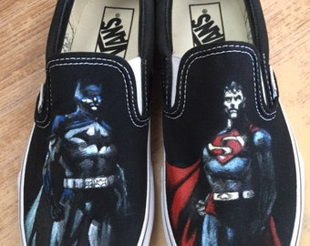 Batman v Supermam.  Custom painted shoes of superheros.