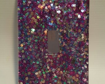 Purple and Silver Glitter Light-Switch Plate Cover