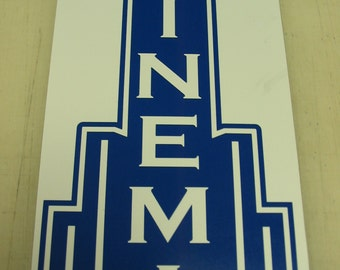 Art Deco CINEMA Metal Sign for Home Theater