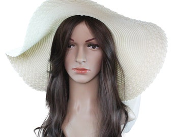 "UV Protection Summer Sun Beach Floppy Hat 6"" Wide Brim Straw - 100% Paper Straw"