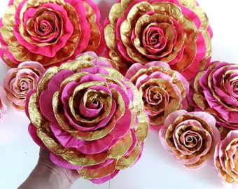 8 large giant paper flowers pink gold glitter wedding Bollywood Indian Princess Wall arch bridal baby shower baptism party birthday backdrop