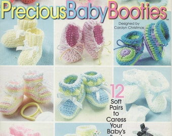 Precious Baby Booties: 12 Soft Pairs to Caress Your Baby's Feet  -  Crochet  -   Cuffed, Mary Janes, Ribbed, Striped, Sandals,  and more....